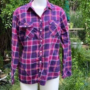 CROFT BARROW Pink Purple Flannel Shirt XL